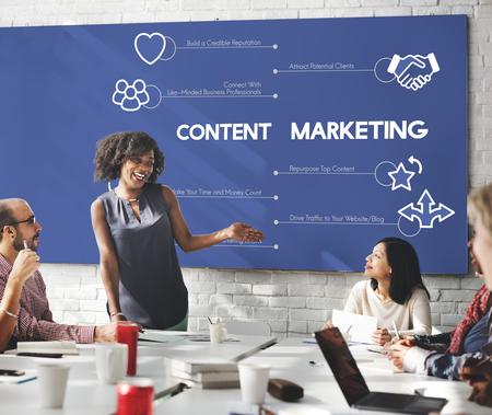 Content marketing concept in meeting Imagens