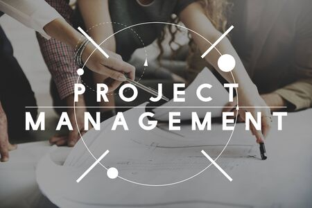 managing: Project Management Manager Managing Business Concept