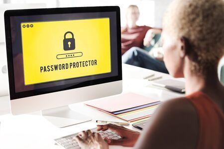 password: Lock Icon Password Protected Graphic Concept