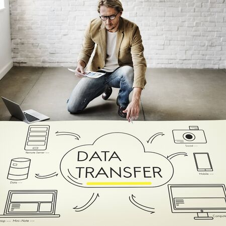 cloud transfer: Cloud Transfer Data Connection Network Concept Stock Photo