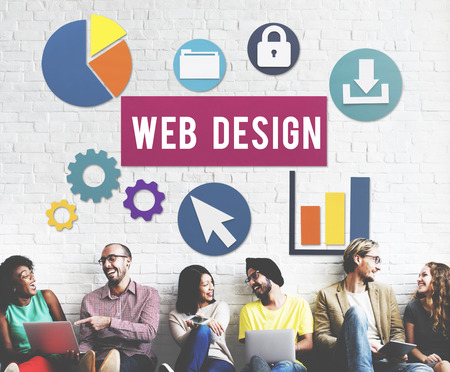 Web design concept with group of people sitting