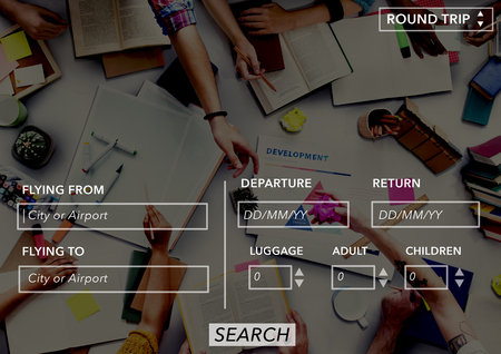return trip: Flight Flying Form Online Search Concept Stock Photo