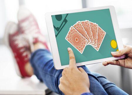 ganado: La suerte de juego de Jackpot Concepto Riesgo Apuesta Foto de archivo