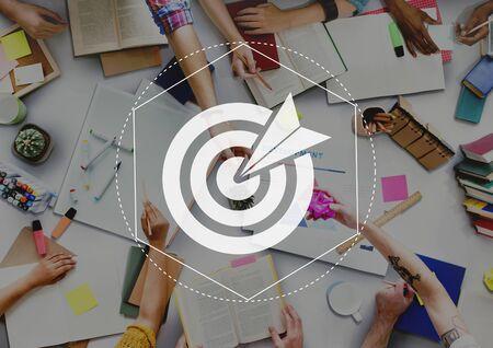university admission: Target Goals Expectations Achievement Graphic Concept