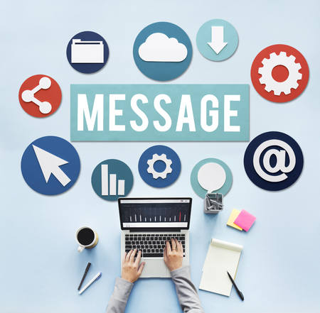 Message concept with person using laptop Imagens