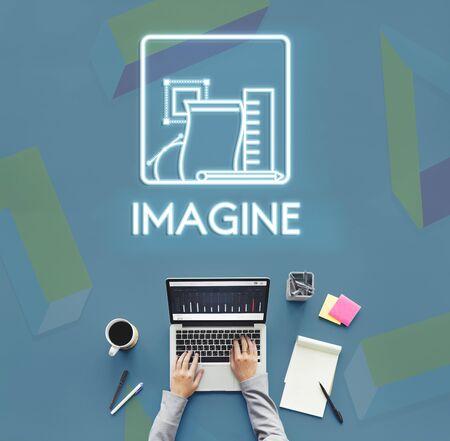 visualise: Imagine Ideas Thinking Vision Dream Creative Concept Stock Photo