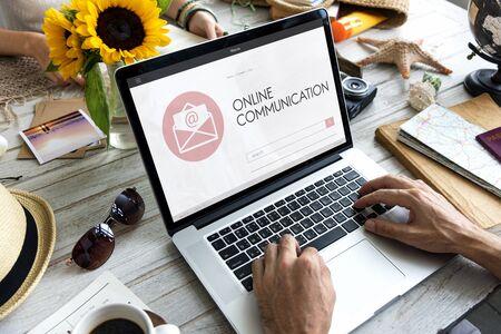 envelop: Online Communication Webpage Envelop Mail Concept