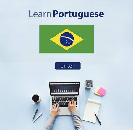 Apprendre le portugais en ligne Langue Education Concept Banque d'images