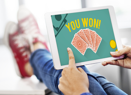 You Won Message Playing Cards Concept