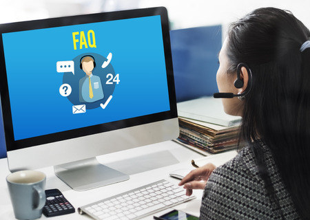 customer support: FAQ Enquiry Questions Guide Customer Support Concept Stock Photo