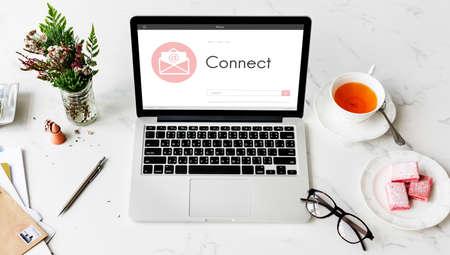 envelop: Online Message Blog Chat Communication Envelop Graphic Icon Concept