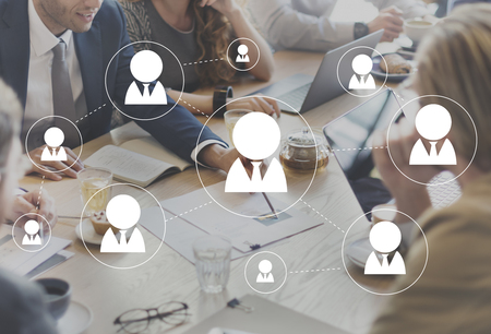 Het netwerkvoorzien van een netwerk communiceert Cummunicatin-Verbindingsconcept Stockfoto