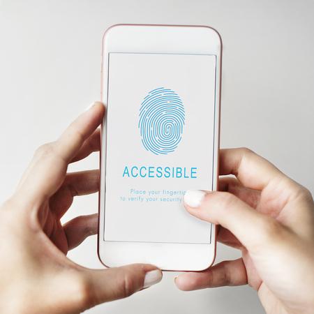 contraseña: Fingerprint Password Biometrics Technology Concept