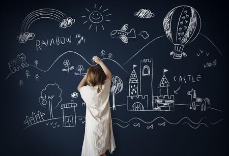 visualise: Blackboard Drawing Creative Imagination Idea Concept