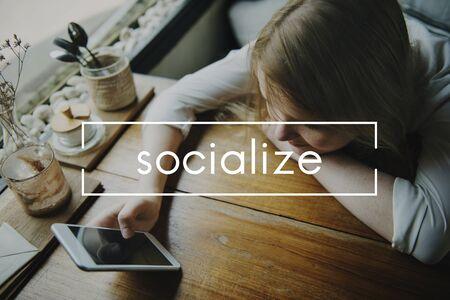 socialize: Socialize Communication Community Unity Society Concept Stock Photo