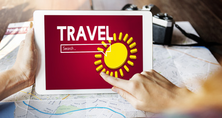 Travel concept with digital tablet