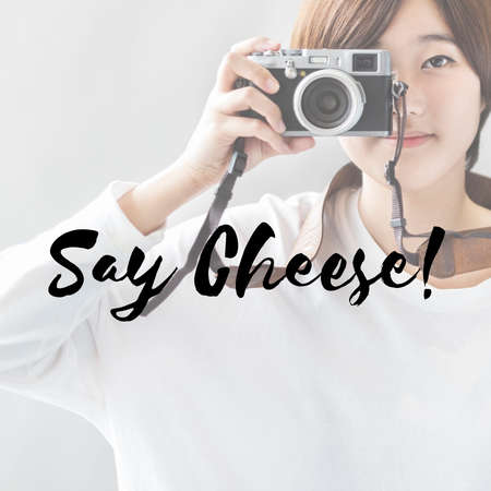 say cheese: Say Cheese Photo Shutter Smiling Concept Stock Photo