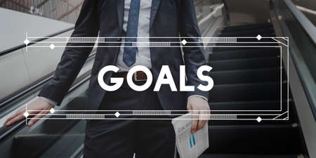 man business oriented: Goals Aim Aspiration Believe Expectations Target Concept Stock Photo