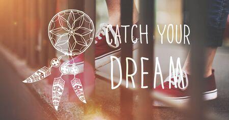 creer: Catch sueño cree concepto de la motivación Aspiración