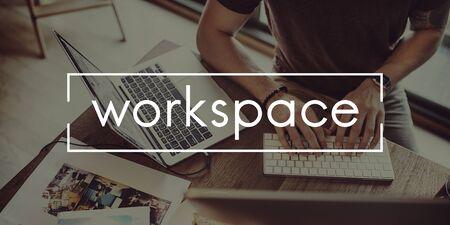 workroom: Workspace Workplace Office Building Workroom Concept Stock Photo