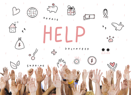 raise your hand: Help Donations Charity Foundation Support Concept