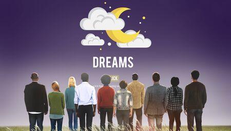 believe: Sue�os creen Dreamer Concepto Imaginaci�n Esperanzado Foto de archivo
