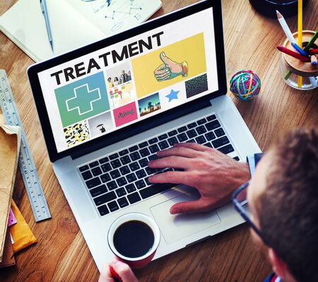 finding a cure: Cross Hospital Treatment Health Cure Browsing Concept
