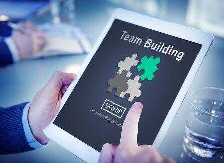 busines: Team Building Busines Collaboration Development Concept Stock Photo