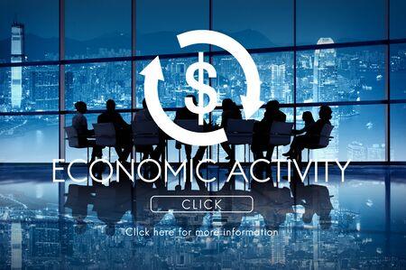 economic cycle: Economic Activity Business Cycle Financial Concept Stock Photo