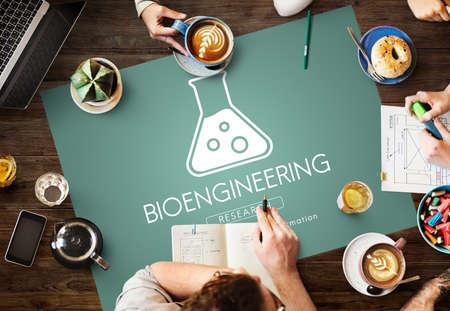 genetica: Scientific Biochemistry Genetics Engineering Concept Archivio Fotografico