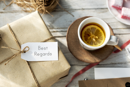 best regards: Message Label Tag Card Present Gift Concept
