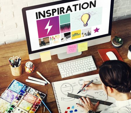 designer: Drawing Graphic Designer imagination Concept Stock Photo