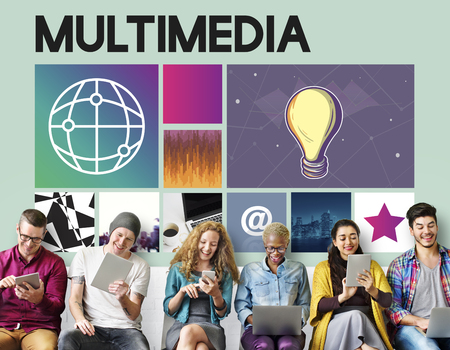 Multimedia concept with group of people sitting