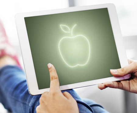 Apple shape concept on digital tablet