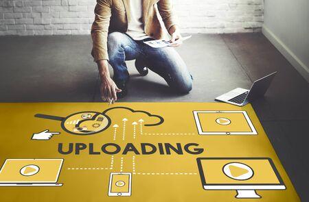 decorator: Upload Uploading Storage Cloud Devices Concept