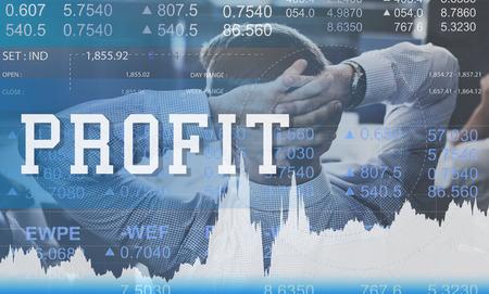 gain: Profit Assets Benefit Financial Gain Gross Income Concept