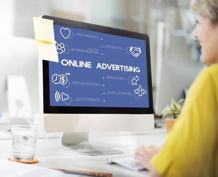 Online advertising concept on computer Banco de Imagens
