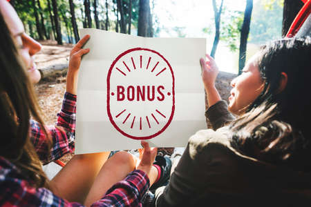 additional compensation: Bonus Benefit Reward Incentive Money Graphic Concept