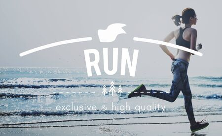 Run Active Fitness Health Hurry Jogging Sprint Concept Stock Photo
