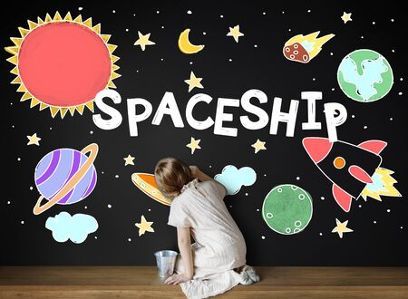 child of school age: Outer Space Icons Drawing Graphics Concept