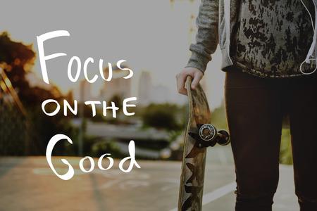 Estilo de vida Pensamientos positivos Mente Concepto Vida Foto de archivo