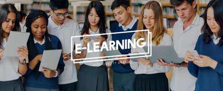 instructional: E-Learning Education Instructional Media Networking Concept