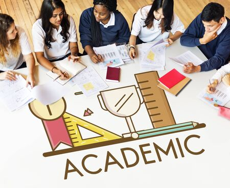 colleges: Academic Knowledge Literacy Wisdom Education Concept Stock Photo
