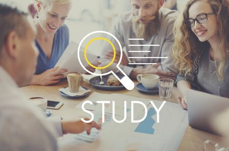 restaurant questions: Study Research Results Knowledge Discovery Concept Stock Photo