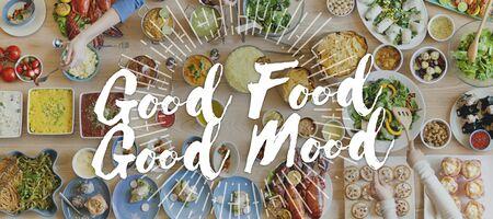 comida rica: Buena comida buen humor Gourmet Cuisine Catering concepto culinario Foto de archivo