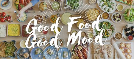 good food: Good Food Good Mood Gourmet Cuisine Catering Culinary Concept