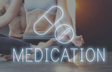 yoga to cure health: Cure Health Medical Drugs Concept