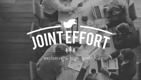 Joint Effort Corporate Collaboration Teamwork Partnership Concept Stock Photo
