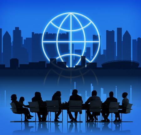 meridiano: Concepto forma de globo de negocios global del planeta