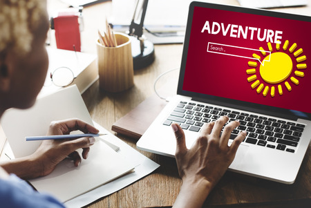 Adventure concept on laptop screen